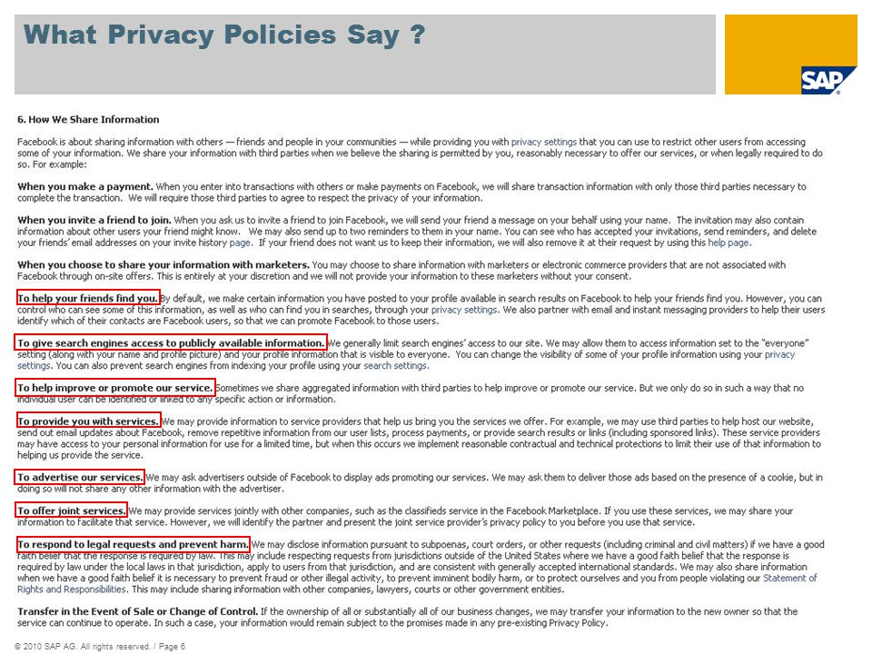 ©2010 SAP AG. All rights reserved. / Page 6 What Privacy Policies Say