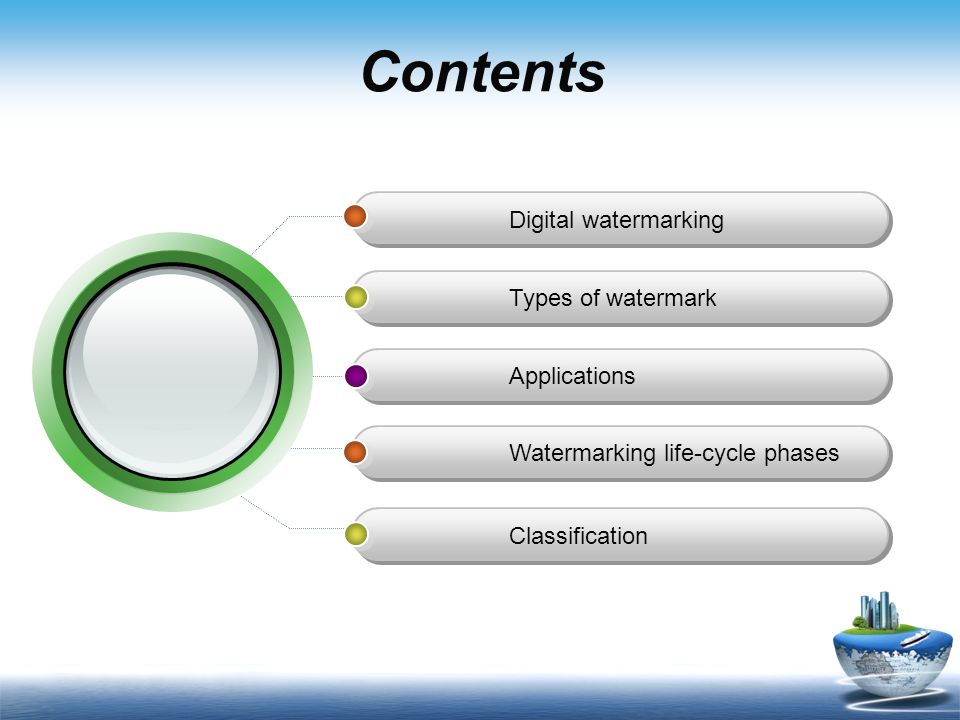 Contents Digital watermarking Types of watermark Applications Watermarking life-cycle phases Classification