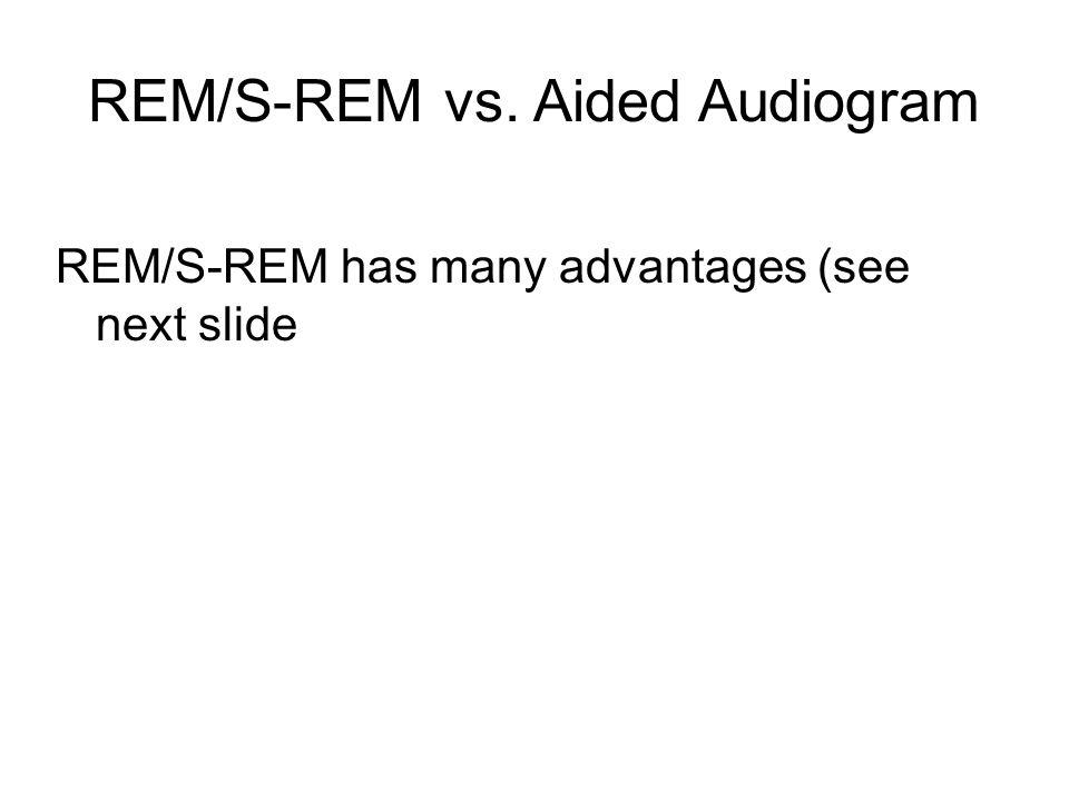 REM/S-REM vs. Aided Audiogram REM/S-REM has many advantages (see next slide