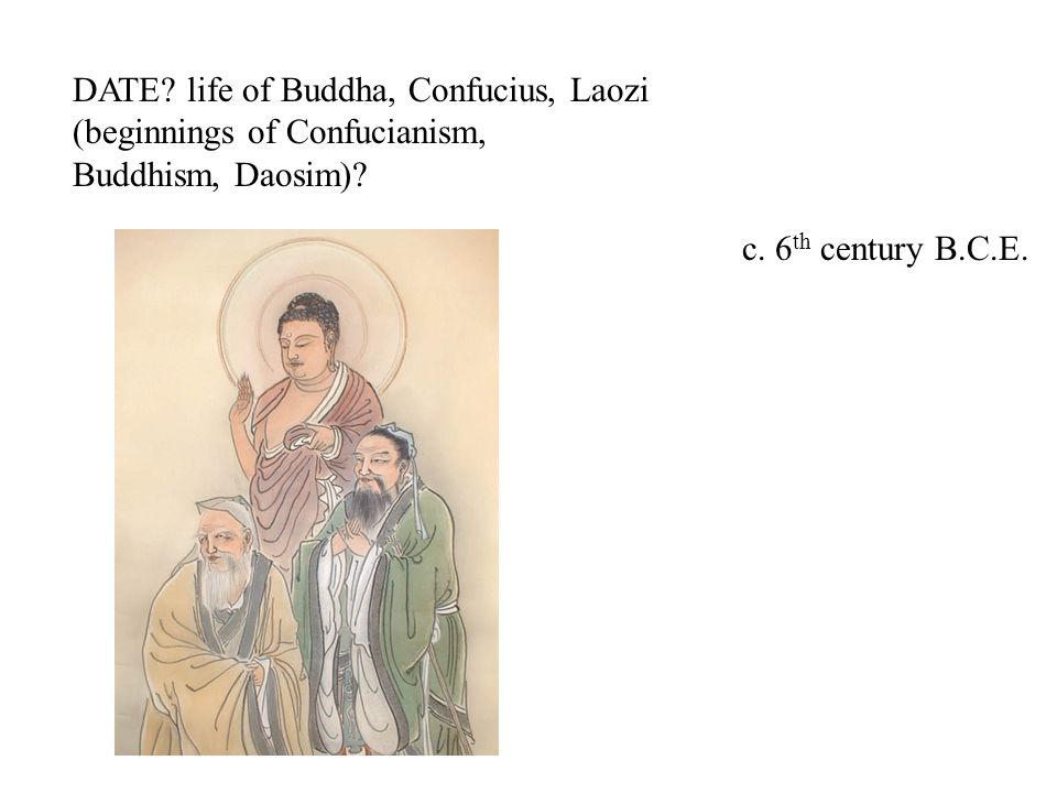 DATE. life of Buddha, Confucius, Laozi (beginnings of Confucianism, Buddhism, Daosim).