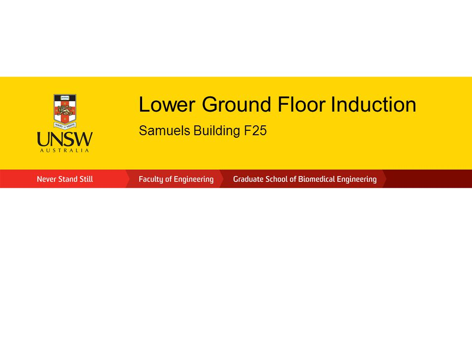 Lower Ground Floor Induction Samuels Building F25
