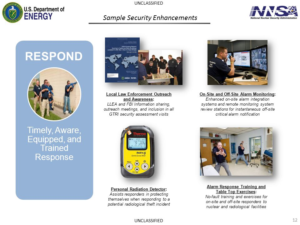 Sample Security Enhancements On-Site and Off-Site Alarm Monitoring: Enhanced on-site alarm integration systems and remote monitoring system review sta