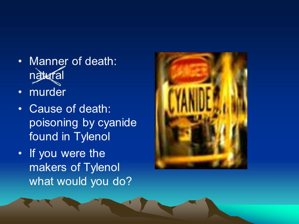 Manner of death: natural murder Cause of death: poisoning by cyanide found in Tylenol If you were the makers of Tylenol what would you do?