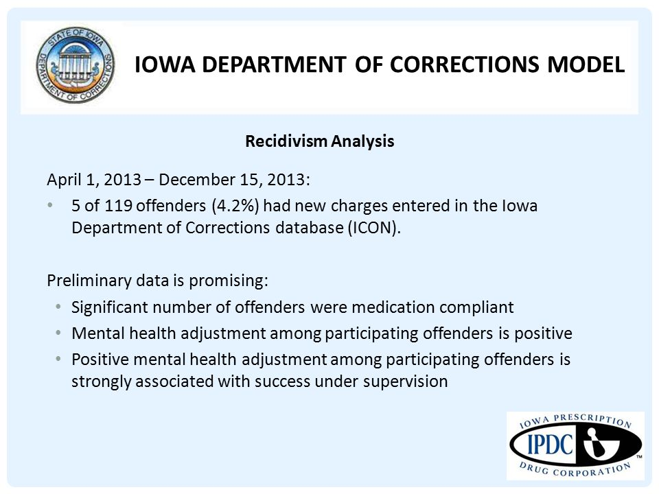 IOWA DEPARTMENT OF CORRECTIONS MODEL April 1, 2013 – December 15, 2013: 5 of 119 offenders (4.2%) had new charges entered in the Iowa Department of Co