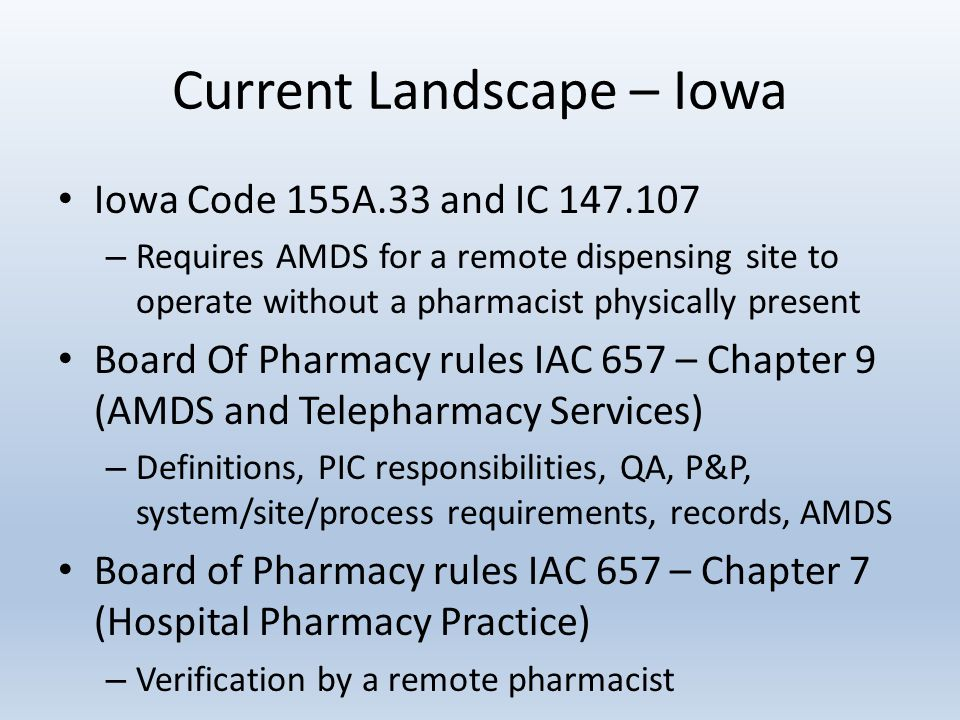 Current Landscape – Iowa Iowa Code 155A.33 and IC 147.107 – Requires AMDS for a remote dispensing site to operate without a pharmacist physically present Board Of Pharmacy rules IAC 657 – Chapter 9 (AMDS and Telepharmacy Services) – Definitions, PIC responsibilities, QA, P&P, system/site/process requirements, records, AMDS Board of Pharmacy rules IAC 657 – Chapter 7 (Hospital Pharmacy Practice) – Verification by a remote pharmacist
