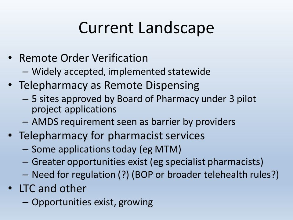 Current Landscape Remote Order Verification – Widely accepted, implemented statewide Telepharmacy as Remote Dispensing – 5 sites approved by Board of