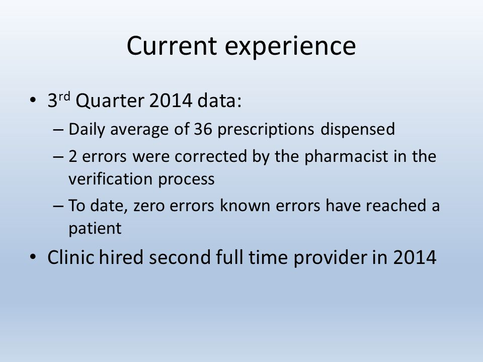 Current experience 3 rd Quarter 2014 data: – Daily average of 36 prescriptions dispensed – 2 errors were corrected by the pharmacist in the verification process – To date, zero errors known errors have reached a patient Clinic hired second full time provider in 2014