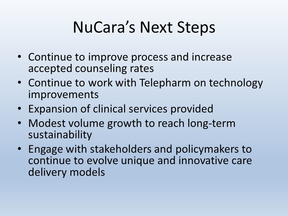 NuCara's Next Steps Continue to improve process and increase accepted counseling rates Continue to work with Telepharm on technology improvements Expansion of clinical services provided Modest volume growth to reach long-term sustainability Engage with stakeholders and policymakers to continue to evolve unique and innovative care delivery models