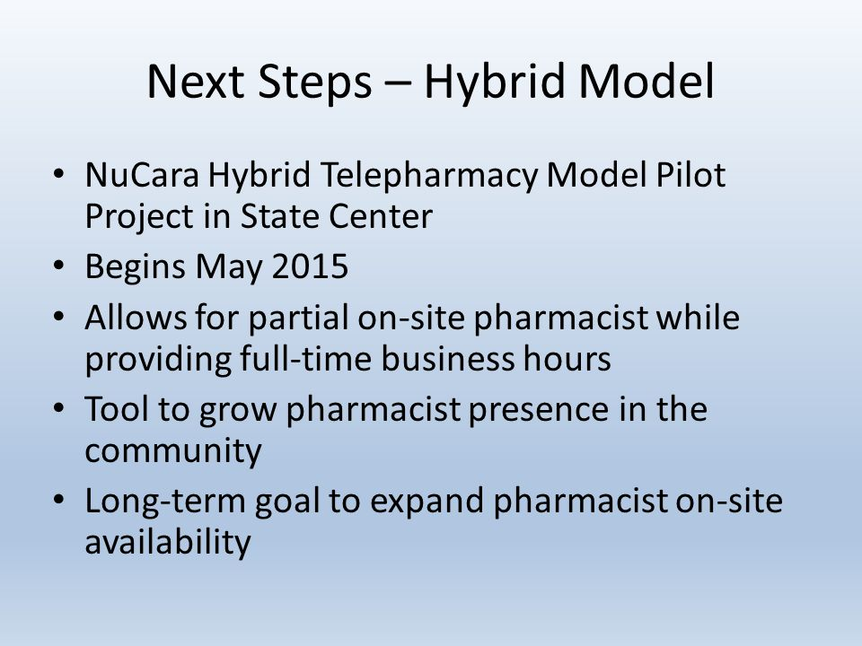 Next Steps – Hybrid Model NuCara Hybrid Telepharmacy Model Pilot Project in State Center Begins May 2015 Allows for partial on-site pharmacist while providing full-time business hours Tool to grow pharmacist presence in the community Long-term goal to expand pharmacist on-site availability
