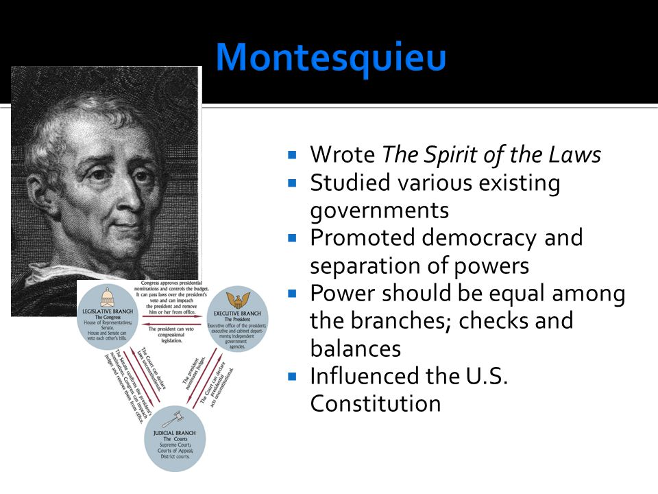  Wrote The Spirit of the Laws  Studied various existing governments  Promoted democracy and separation of powers  Power should be equal among the