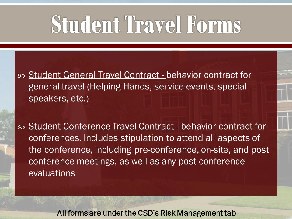  Student General Travel Contract - behavior contract for general travel (Helping Hands, service events, special speakers, etc.)  Student Conference Travel Contract - behavior contract for conferences.