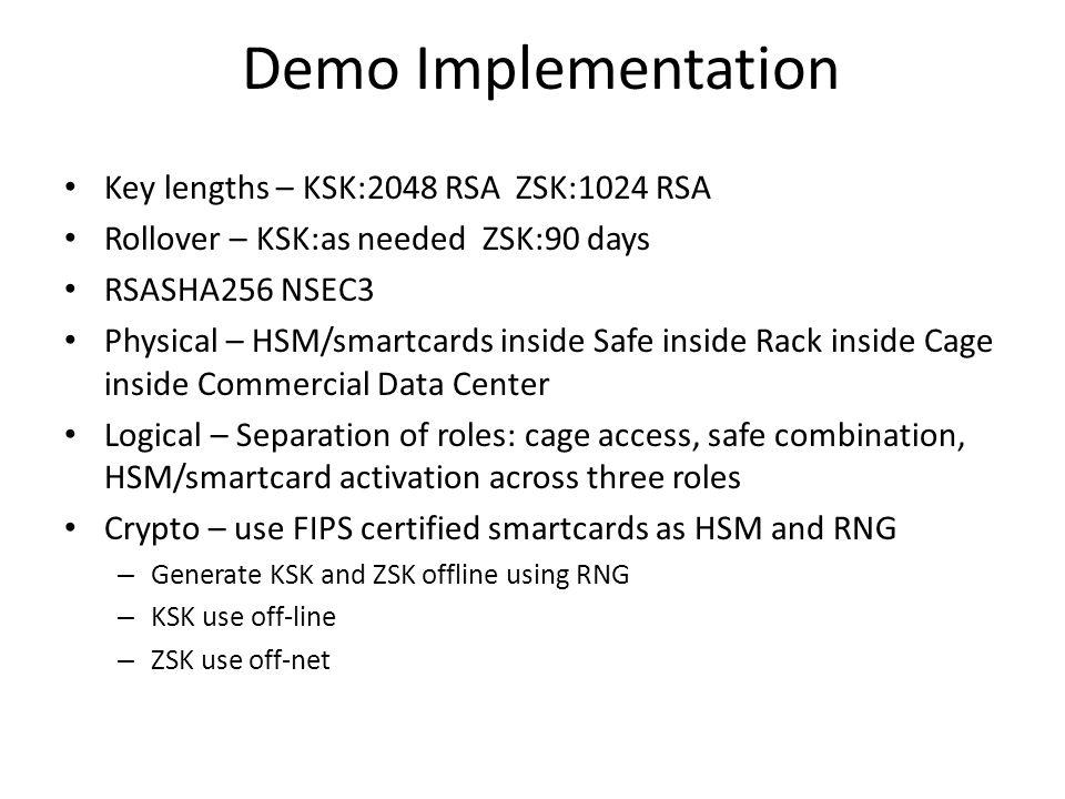 Demo Implementation Key lengths – KSK:2048 RSA ZSK:1024 RSA Rollover – KSK:as needed ZSK:90 days RSASHA256 NSEC3 Physical – HSM/smartcards inside Safe inside Rack inside Cage inside Commercial Data Center Logical – Separation of roles: cage access, safe combination, HSM/smartcard activation across three roles Crypto – use FIPS certified smartcards as HSM and RNG – Generate KSK and ZSK offline using RNG – KSK use off-line – ZSK use off-net