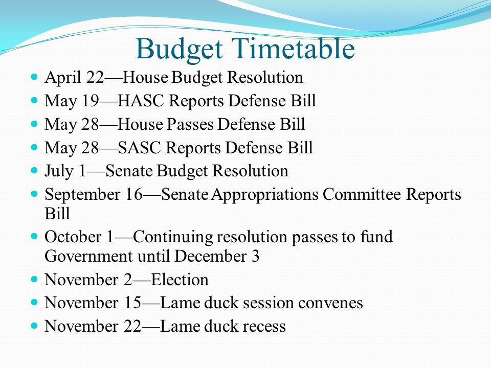 November 29—Lame duck session reconvenes Defense Authorization, Extension of unemployment, Physician pay hike for Medicare, Wage discrimination, Natural gas vehicles, food safety—and mouse through the snake or pig through the boa—Tax Cuts Senate has approved 11 of 12 appropriations bills and could do Omnibus Appropriations Bill—Dems want it Republicans don't want it until new Congress convenes December 1—Deficit Reduction Commission reports December 3—Continuing Resolution Expires— December 15—2012 Defense budget wrap Republicans want new CR until next Congress—Dems want Omnibus