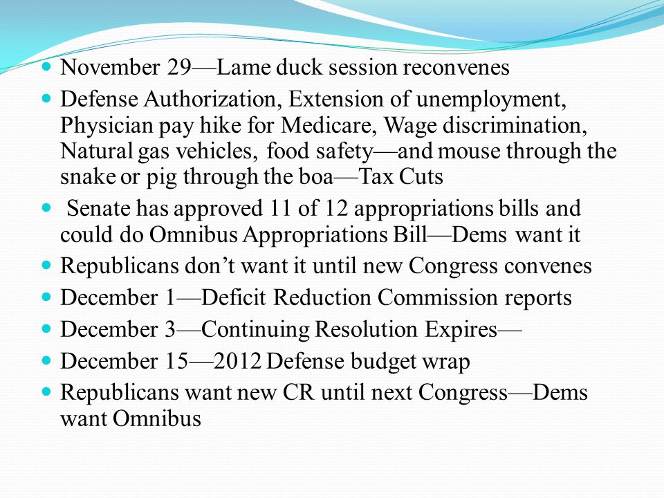 Budget Timetable January 3, 2011—New Congress convenes Now it gets complicated President's Budget submission traditionally 1 week before SOTU SOTU Originally planned for January 26 May be February 2 because final episode of Lost airs January 26 Statutory deadline to submit budget February 1 They could delay budget release because no penalty for lateness February—Hearings begin on 2012 budget April—ALA Congressional and Public Policy Forum