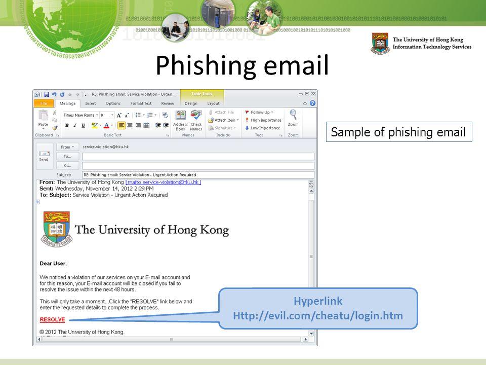 Phishing email Hyperlink Http://evil.com/cheatu/login.htm Sample of phishing email