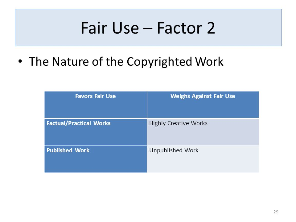Fair Use – Factor 2 The Nature of the Copyrighted Work 29 Favors Fair UseWeighs Against Fair Use Factual/Practical WorksHighly Creative Works Published WorkUnpublished Work