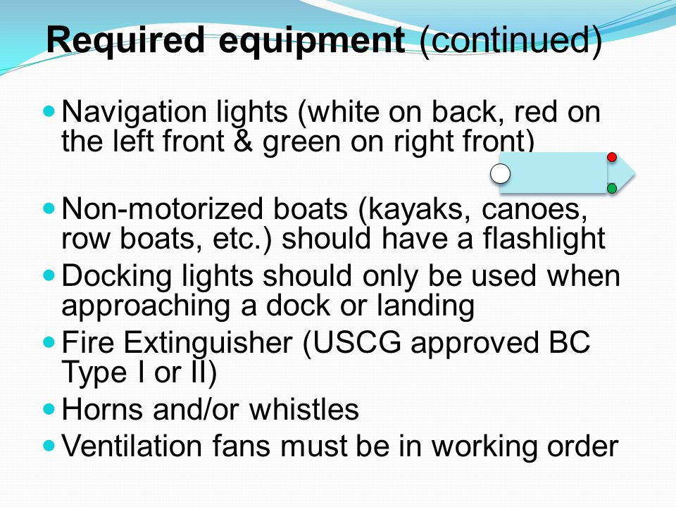 Required equipment (continued) Navigation lights (white on back, red on the left front & green on right front) Non-motorized boats (kayaks, canoes, row boats, etc.) should have a flashlight Docking lights should only be used when approaching a dock or landing Fire Extinguisher (USCG approved BC Type I or II) Horns and/or whistles Ventilation fans must be in working order