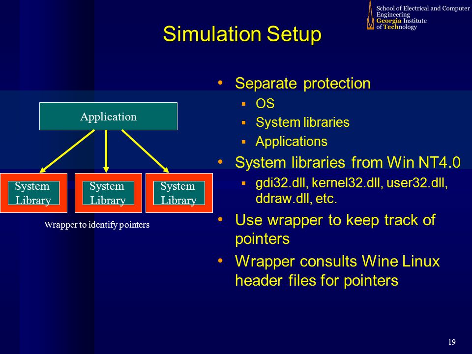 19 Simulation Setup Application System Library Wrapper to identify pointers System Library System Library Separate protection  OS  System libraries  Applications System libraries from Win NT4.0  gdi32.dll, kernel32.dll, user32.dll, ddraw.dll, etc.