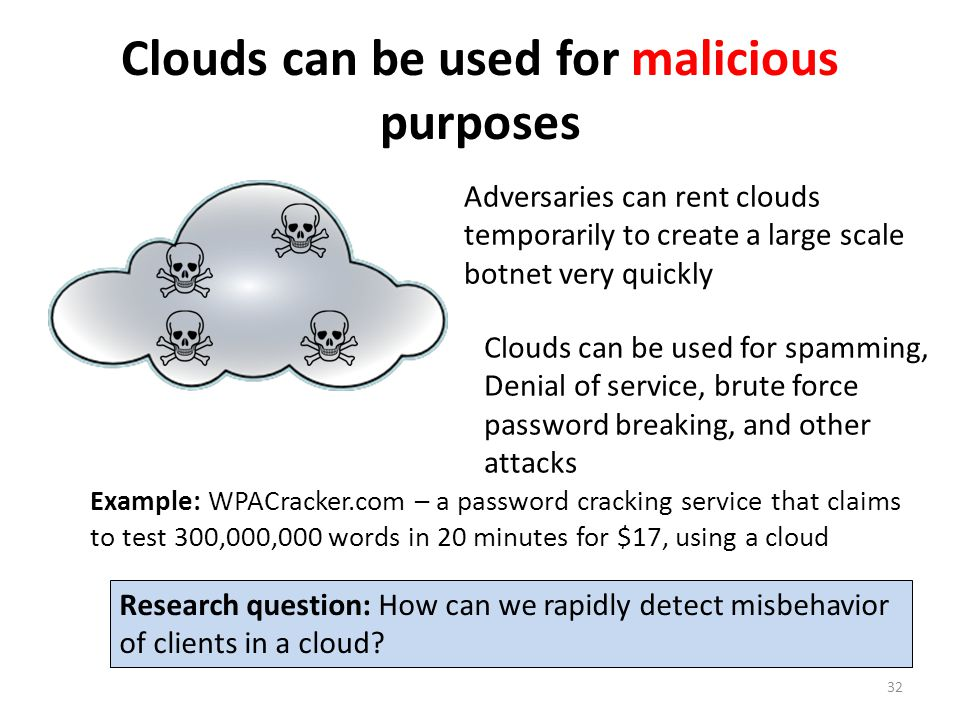 Clouds can be used for malicious purposes Adversaries can rent clouds temporarily to create a large scale botnet very quickly Clouds can be used for spamming, Denial of service, brute force password breaking, and other attacks Research question: How can we rapidly detect misbehavior of clients in a cloud.