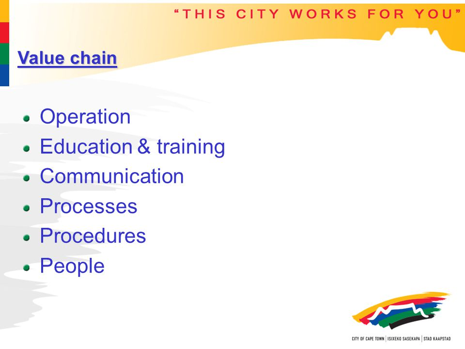 Value chain Operation Education & training Communication Processes Procedures People
