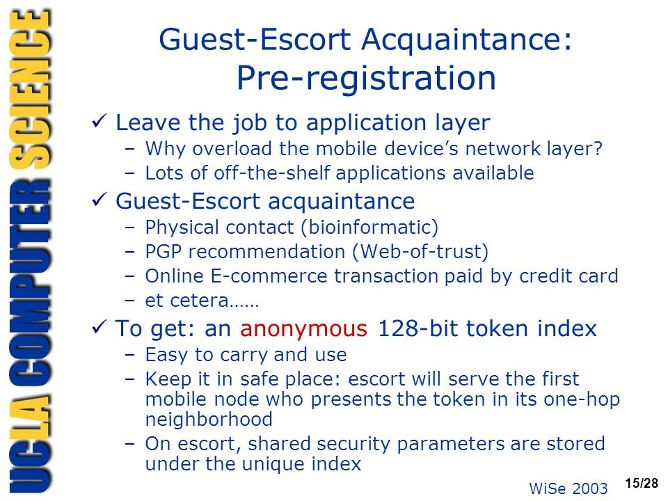 WiSe 2003 15/28 Guest-Escort Acquaintance: Pre-registration Leave the job to application layer –Why overload the mobile device's network layer? –Lots