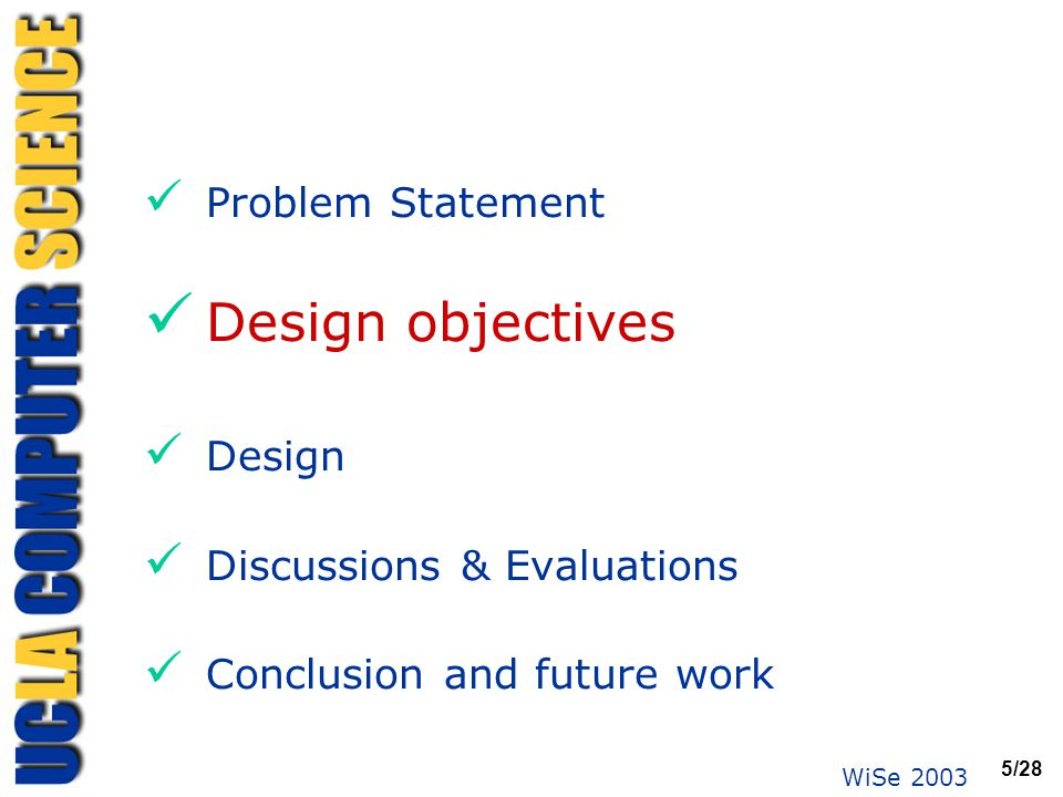 WiSe 2003 5/28 Problem Statement Design objectives Design Discussions & Evaluations Conclusion and future work