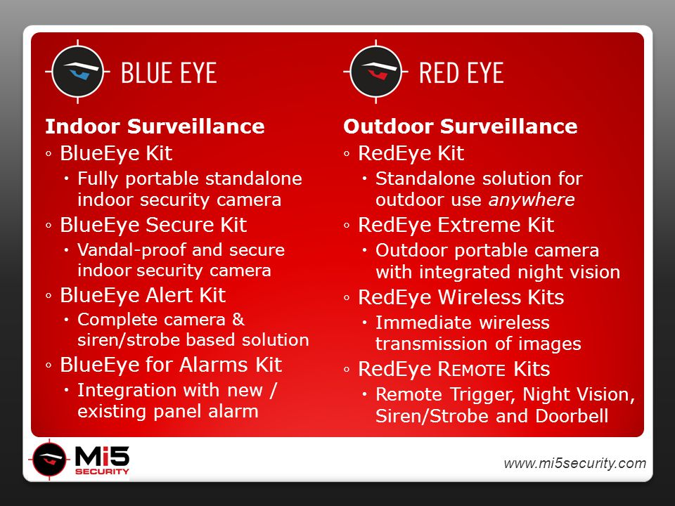 www.mi5security.com Indoor Surveillance ◦BlueEye Kit  Fully portable standalone indoor security camera ◦BlueEye Secure Kit  Vandal-proof and secure indoor security camera ◦BlueEye Alert Kit  Complete camera & siren/strobe based solution ◦BlueEye for Alarms Kit  Integration with new / existing panel alarm Outdoor Surveillance ◦RedEye Kit  Standalone solution for outdoor use anywhere ◦RedEye Extreme Kit  Outdoor portable camera with integrated night vision ◦RedEye Wireless Kits  Immediate wireless transmission of images ◦RedEye R EMOTE Kits  Remote Trigger, Night Vision, Siren/Strobe and Doorbell