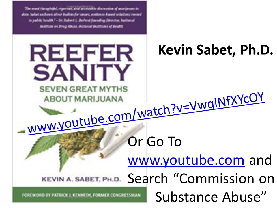 "Kevin Sabet, Ph.D. www.youtube.com/watch?v=VwqlNfXYcOY Or Go To www.youtube.comwww.youtube.com and Search ""Commission on Substance Abuse"""