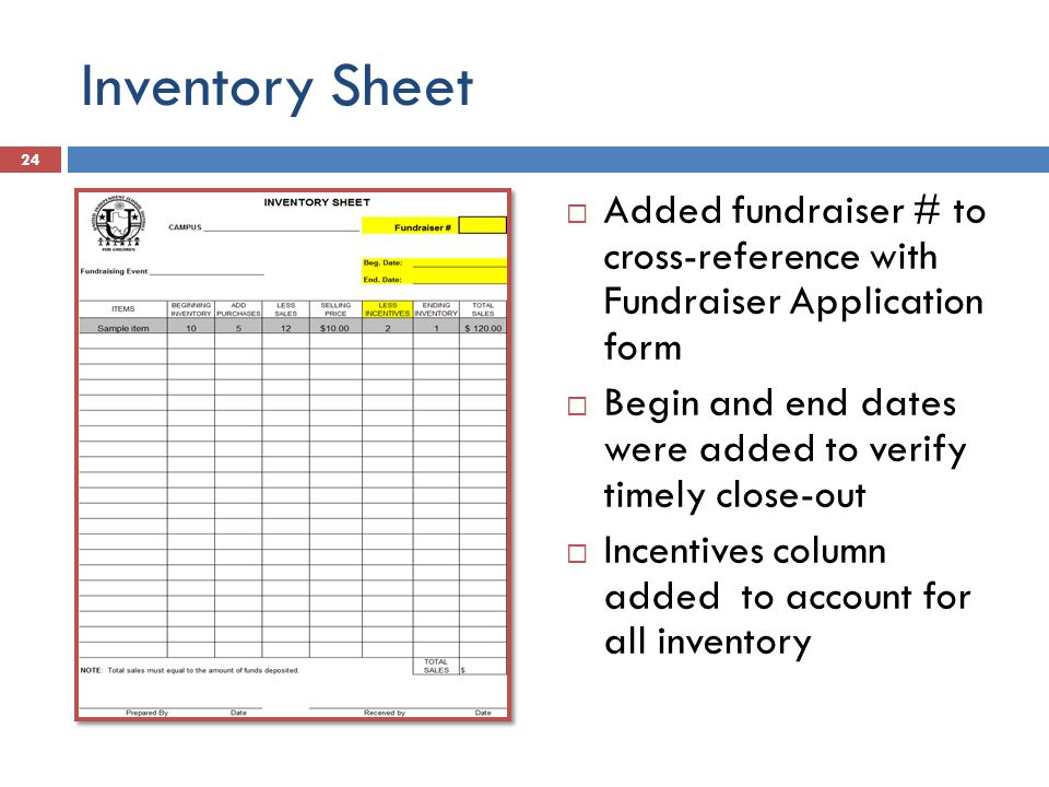 Inventory Sheet  Added fundraiser # to cross-reference with Fundraiser Application form  Begin and end dates were added to verify timely close-out  Incentives column added to account for all inventory 24