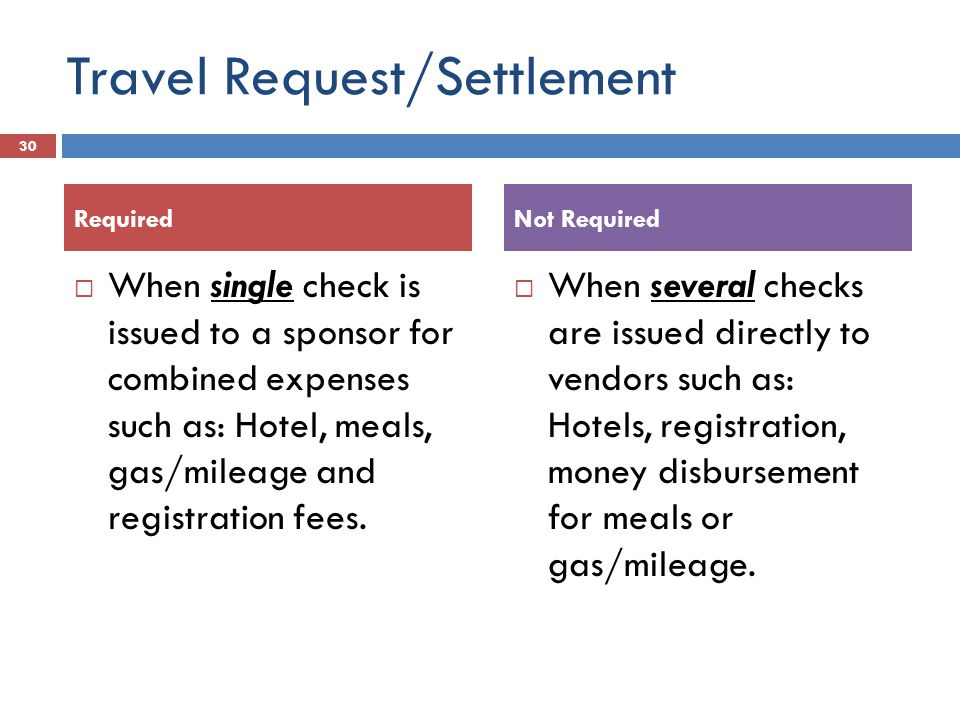 Travel Request/Settlement  When single check is issued to a sponsor for combined expenses such as: Hotel, meals, gas/mileage and registration fees.