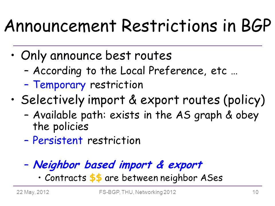 22 May, 2012FS-BGP, THU, Networking 2012 Announcement Restrictions in BGP Only announce best routes –According to the Local Preference, etc … –Temporary restriction Selectively import & export routes (policy) –Available path: exists in the AS graph & obey the policies –Persistent restriction –Neighbor based import & export Contracts $$ are between neighbor ASes 10