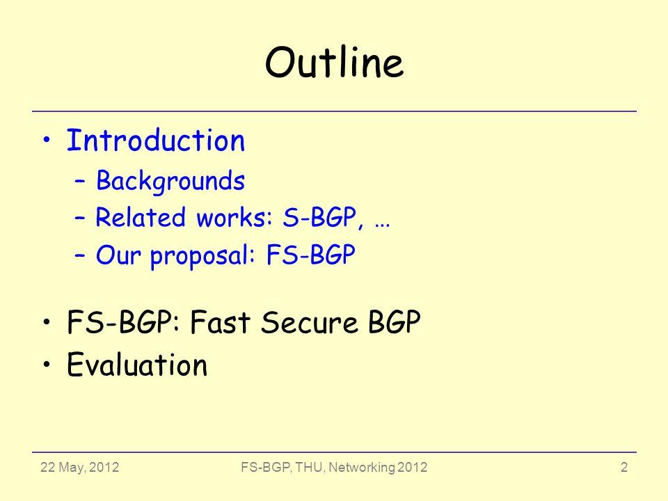 22 May, 2012FS-BGP, THU, Networking 2012 a0a0 〈a0〉〈a0〉 {a 1 a 0 f}a 0 a1a1 a2a2 a3a3 a4a4 〈a1 a0〉〈a1 a0〉〈a2 a1 a0〉〈a2 a1 a0〉〈a3 a2 a1 a0〉〈a3 a2 a1 a0〉 {a 2 a 1 a 0 f}a 1 {a 3 a 2 a 1 a 0 f}a 2 {a 4 a 3 a 2 a 1 a 0 f}a 3 {a 1 a 0 f}a 0 {a2 a1 a0}a1{a2 a1 a0}a1 {a3 a2 a1}a2{a3 a2 a1}a2 {a4 a3 a2}a3{a4 a3 a2}a3 √√√√√ √ √√ √ √ √ √√ √ √√ √ √ √√ {msg}a i : signature of msg signed by a i FS-BGP : CSA S-BGP : RA 13