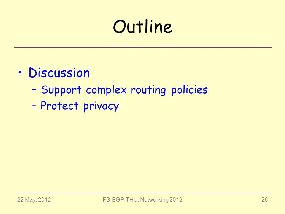 22 May, 2012FS-BGP, THU, Networking 2012 Outline Discussion –Support complex routing policies –Protect privacy 26