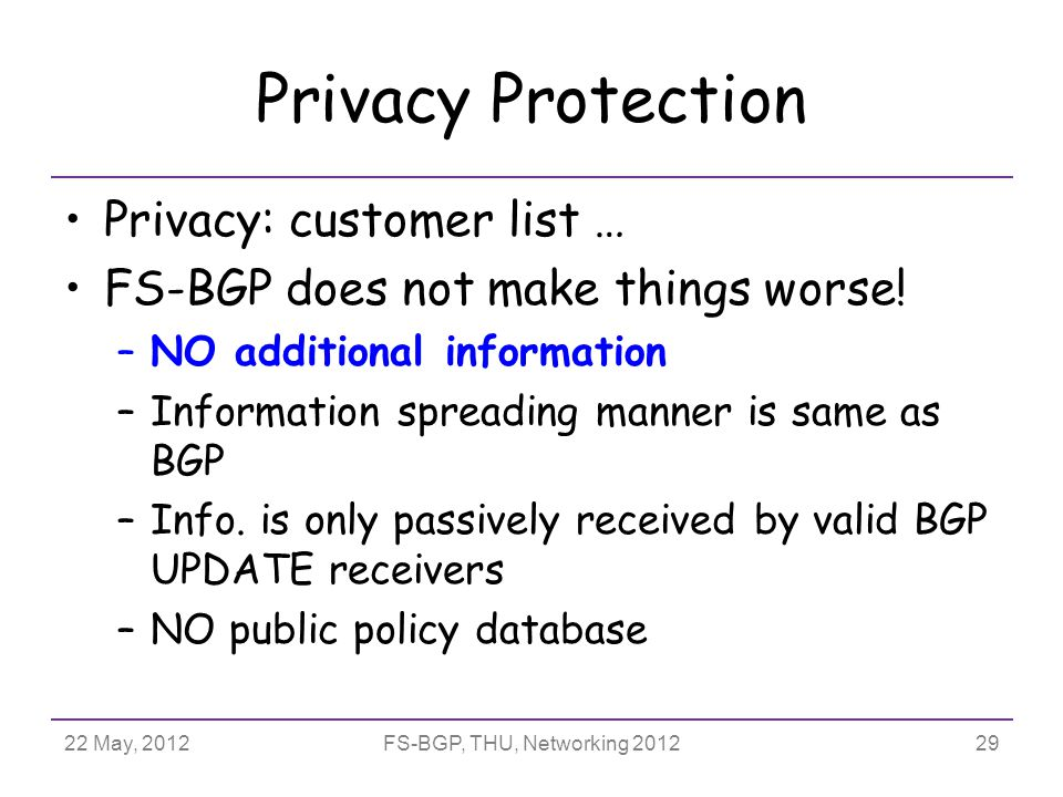 22 May, 2012FS-BGP, THU, Networking 2012 Privacy Protection Privacy: customer list … FS-BGP does not make things worse.