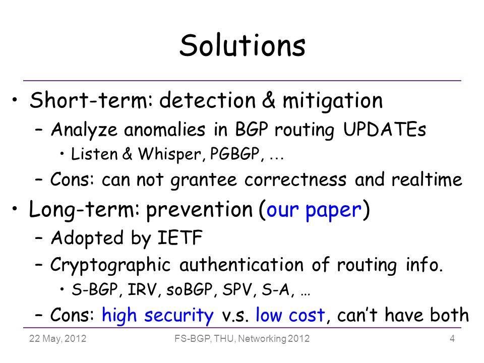 22 May, 2012FS-BGP, THU, Networking 2012 Outline Introduction FS-BGP: Fast Secure BGP –CSA: Critical Segment Attestation –SPP: Suppressed Path Padding Evaluation 15