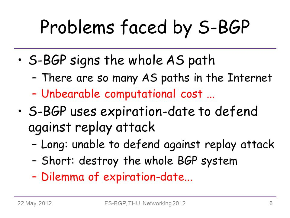 22 May, 2012FS-BGP, THU, Networking 2012 Handle complex routing policies AS may use complicate route filters to describe their routing policies –Prefix filter : –Path filter : –Origin filter : FS-BGP can be flexibly extended and support route filters  Included feasible prefixes into CSA  Sign whole path  Included feasible origins into CSA 27