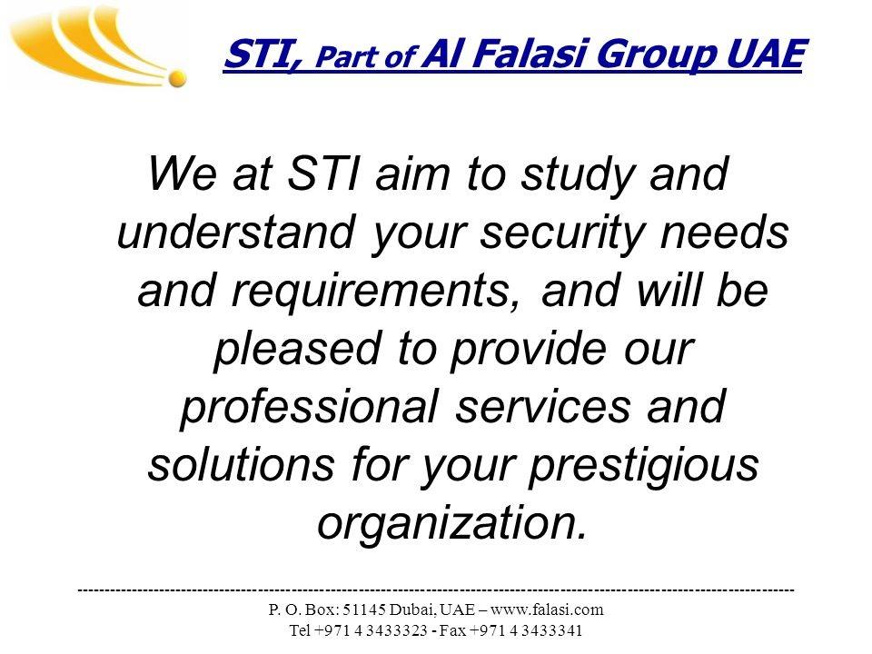STI, Part of Al Falasi Group UAE --------------------------------------------------------------------------------------------------------------------------------- P.