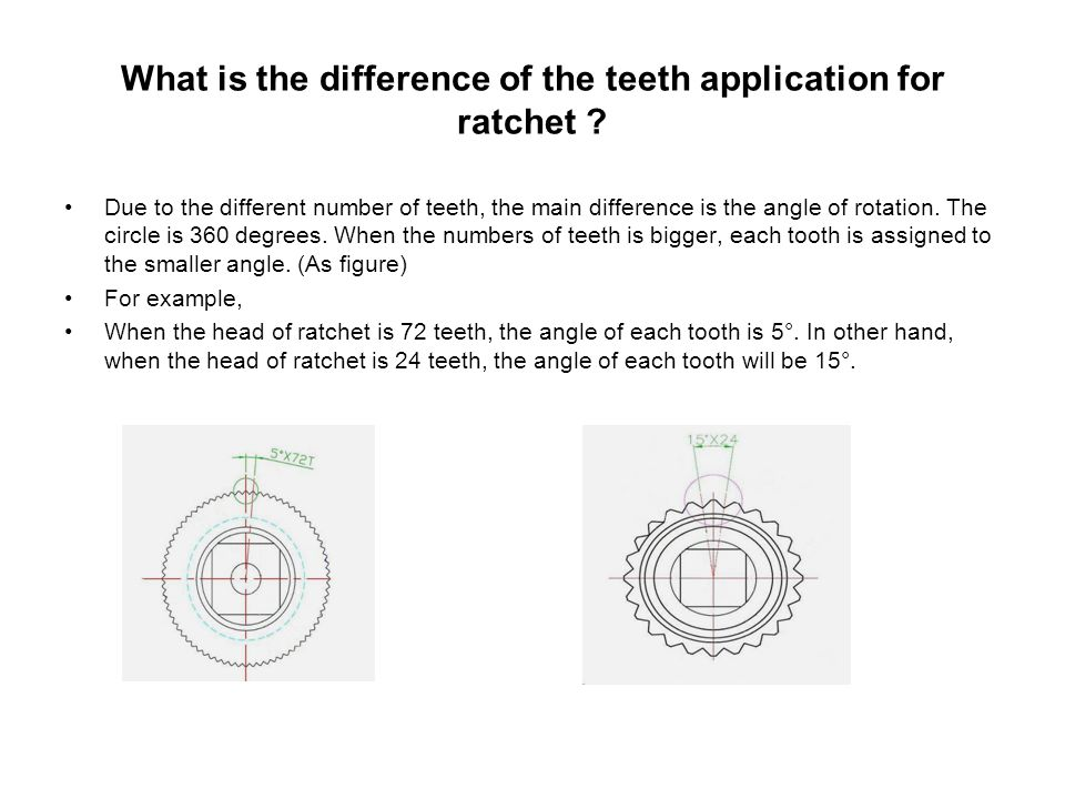 What is the difference of the teeth application for ratchet .