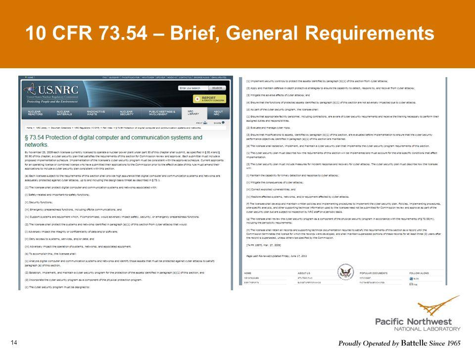 10 CFR 73.54 – Brief, General Requirements 14