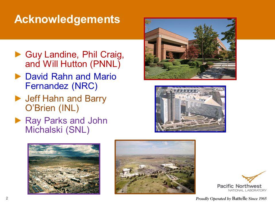 Acknowledgements Guy Landine, Phil Craig, and Will Hutton (PNNL) David Rahn and Mario Fernandez (NRC) Jeff Hahn and Barry O'Brien (INL) Ray Parks and John Michalski (SNL) 2