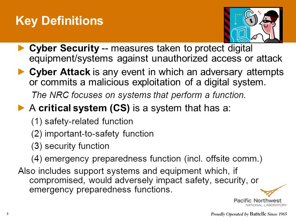 Key Definitions 4 Cyber Security -- measures taken to protect digital equipment/systems against unauthorized access or attack Cyber Attack is any event in which an adversary attempts or commits a malicious exploitation of a digital system.
