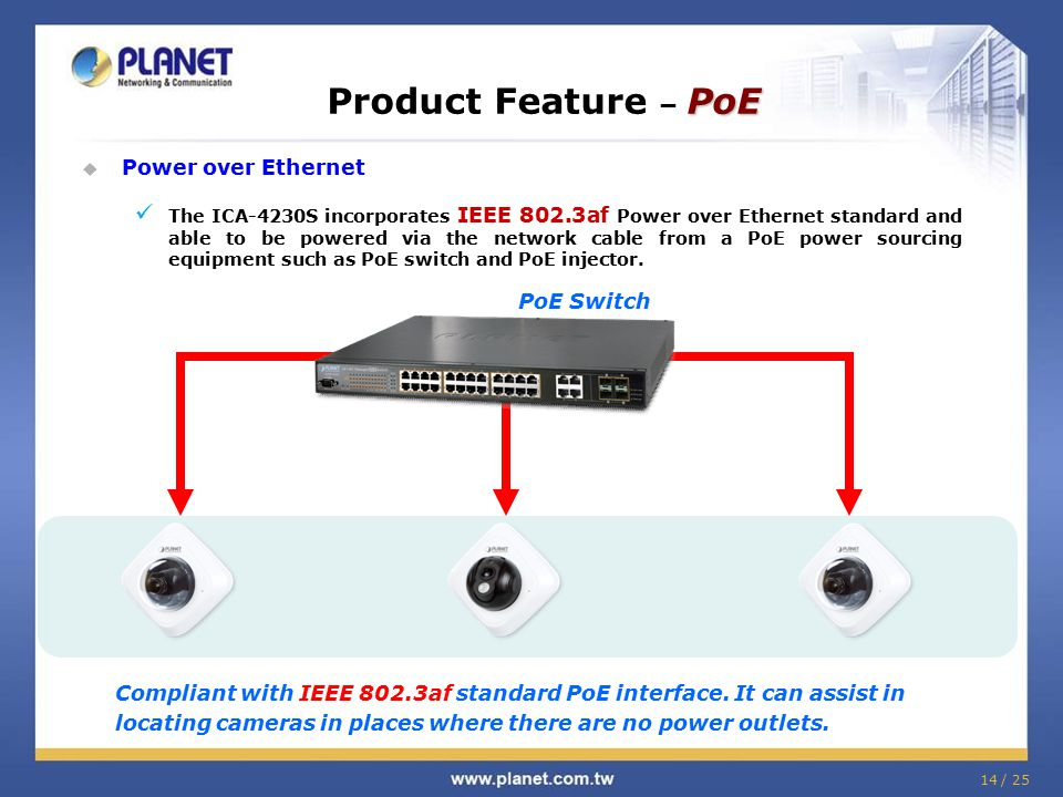  Power over Ethernet The ICA-4230S incorporates IEEE 802.3af Power over Ethernet standard and able to be powered via the network cable from a PoE pow