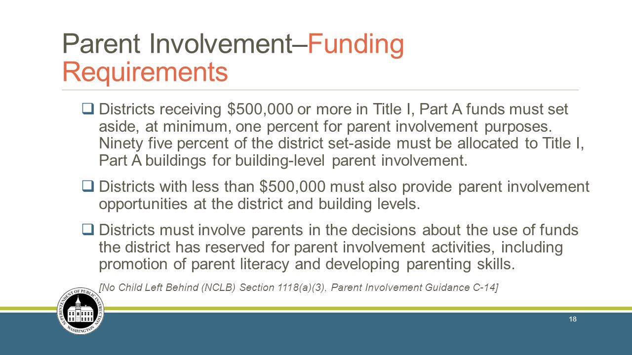  Districts receiving $500,000 or more in Title I, Part A funds must set aside, at minimum, one percent for parent involvement purposes.