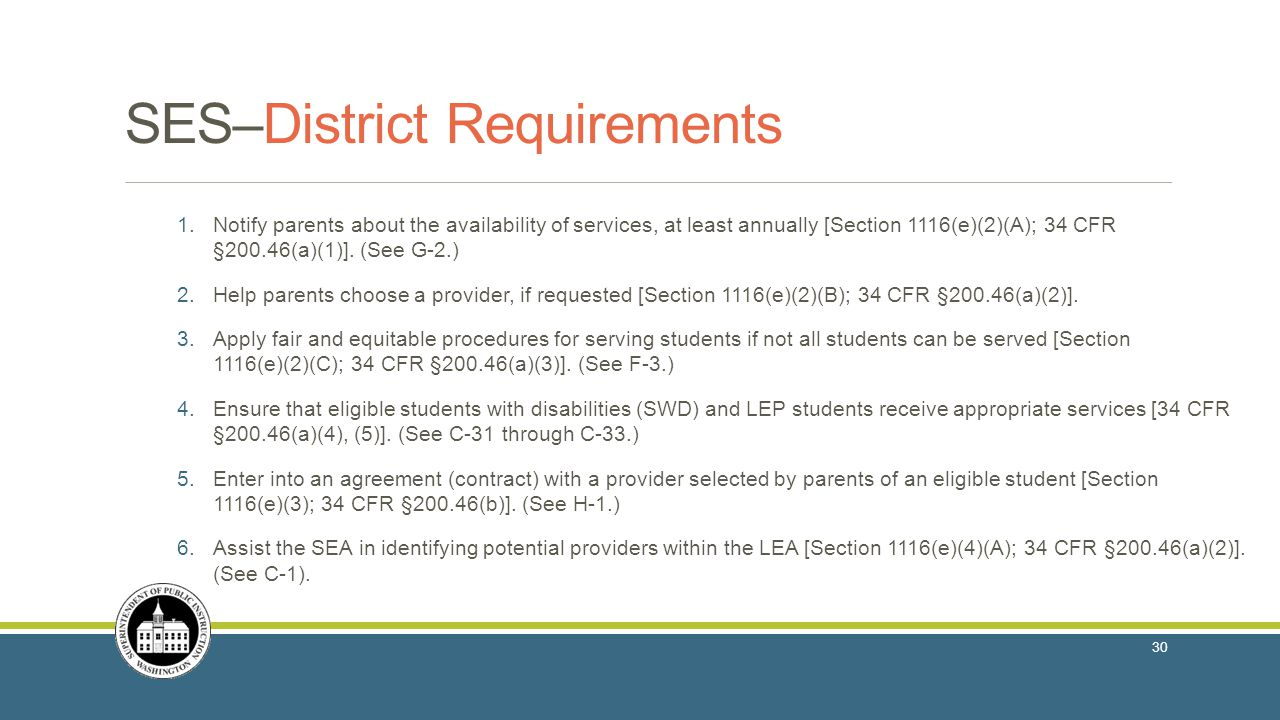 SES–District Requirements 1.Notify parents about the availability of services, at least annually [Section 1116(e)(2)(A); 34 CFR §200.46(a)(1)].