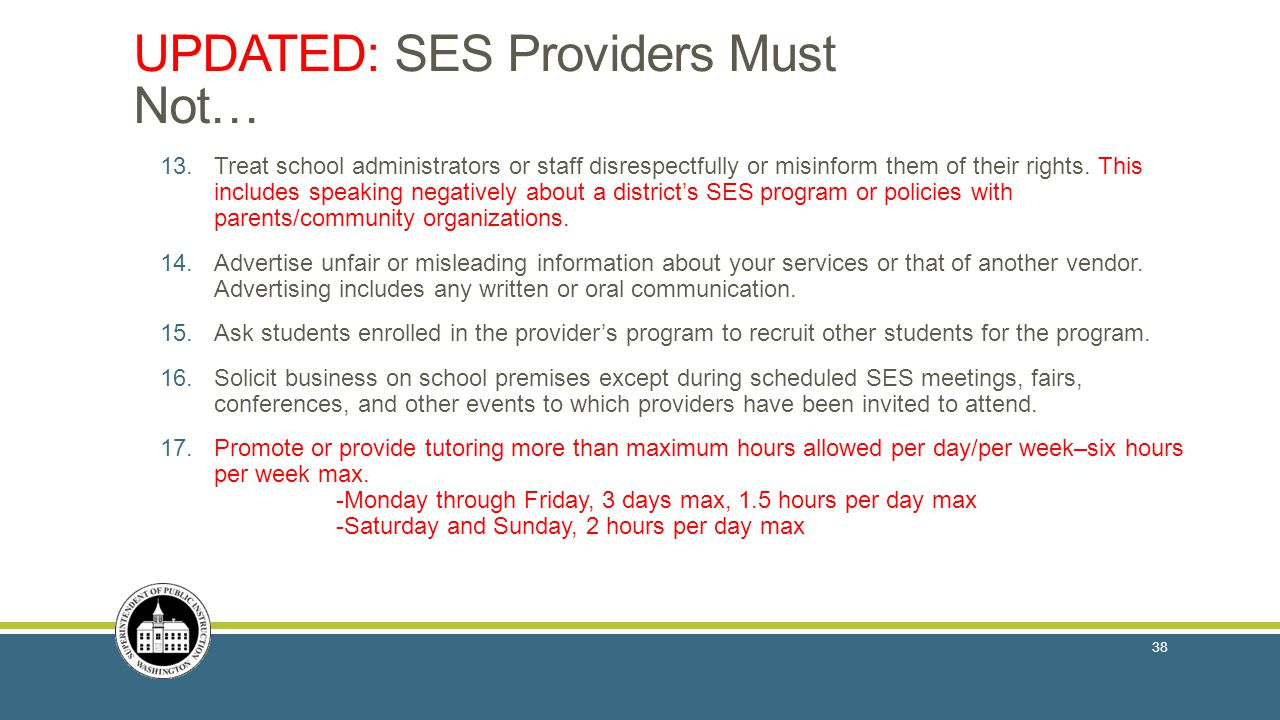 UPDATED: SES Providers Must Not… 13.