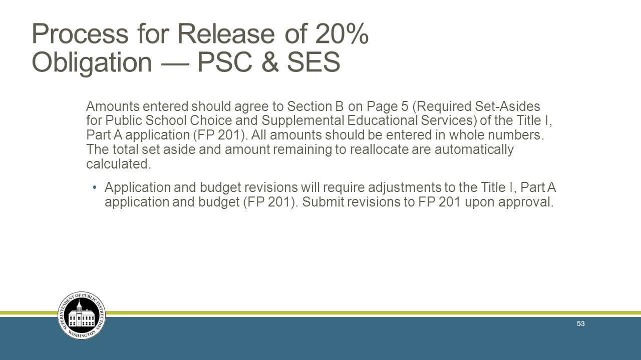 Process for Release of 20% Obligation — PSC & SES Amounts entered should agree to Section B on Page 5 (Required Set-Asides for Public School Choice and Supplemental Educational Services) of the Title I, Part A application (FP 201).