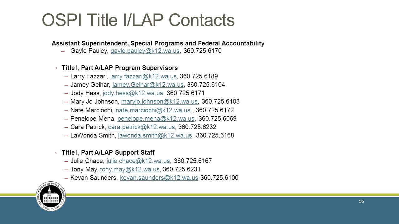 OSPI Title I/LAP Contacts Assistant Superintendent, Special Programs and Federal Accountability –Gayle Pauley, gayle.pauley@k12.wa.us, 360.725.6170gayle.pauley@k12.wa.us ◦ Title I, Part A/LAP Program Supervisors –Larry Fazzari, larry.fazzari@k12.wa.us, 360.725.6189larry.fazzari@k12.wa.us –Jamey Gelhar, jamey.Gelhar@k12.wa.us, 360.725.6104jamey.Gelhar@k12.wa.us –Jody Hess, jody.hess@k12.wa.us, 360.725.6171jody.hess@k12.wa.us –Mary Jo Johnson, maryjo.johnson@k12.wa.us, 360.725.6103maryjo.johnson@k12.wa.us –Nate Marciochi, nate.marciochi@k12.wa.us, 360.725.6172nate.marciochi@k12.wa.us –Penelope Mena, penelope.mena@k12.wa.us, 360.725.6069penelope.mena@k12.wa.us –Cara Patrick, cara.patrick@k12.wa.us, 360.725.6232cara.patrick@k12.wa.us –LaWonda Smith, lawonda.smith@k12.wa.us, 360.725.6168lawonda.smith@k12.wa.us ◦ Title I, Part A/LAP Support Staff –Julie Chace, julie.chace@k12.wa.us, 360.725.6167julie.chace@k12.wa.us –Tony May, tony.may@k12.wa.us, 360.725.6231tony.may@k12.wa.us –Kevan Saunders, kevan.saunders@k12.wa.us 360.725.6100kevan.saunders@k12.wa.us 55