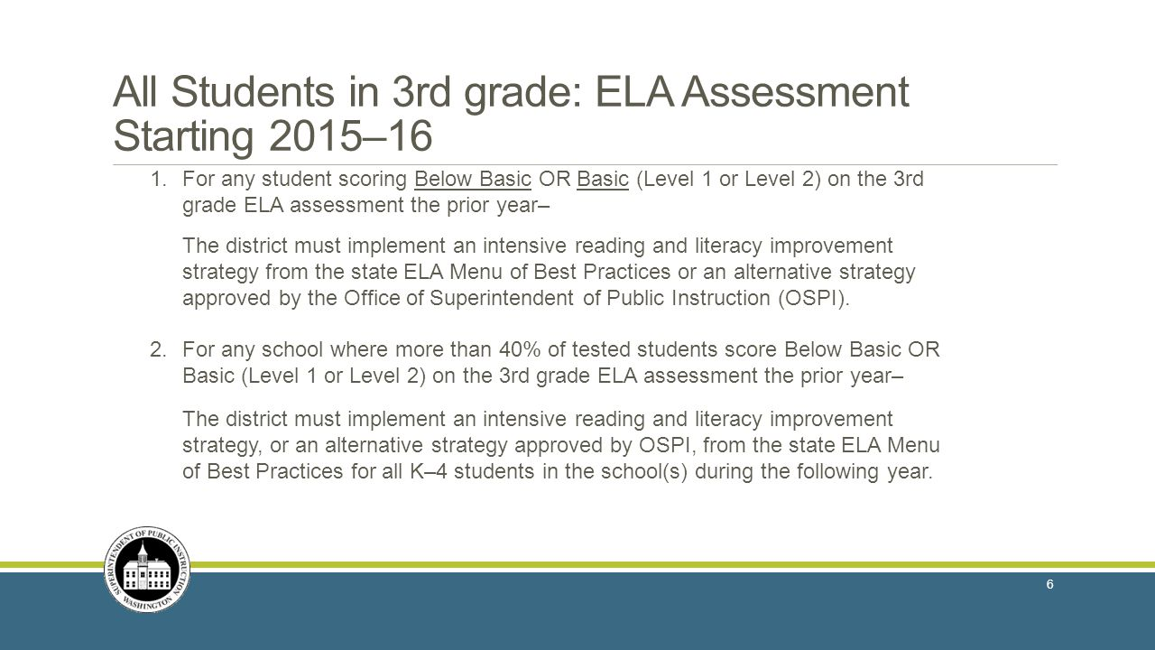 All Students in 3rd grade: ELA Assessment Starting 2015–16 1.For any student scoring Below Basic OR Basic (Level 1 or Level 2) on the 3rd grade ELA assessment the prior year– The district must implement an intensive reading and literacy improvement strategy from the state ELA Menu of Best Practices or an alternative strategy approved by the Office of Superintendent of Public Instruction (OSPI).