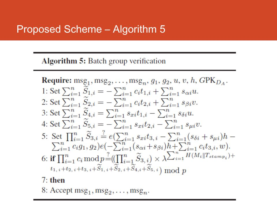 Proposed Scheme – Algorithm 5