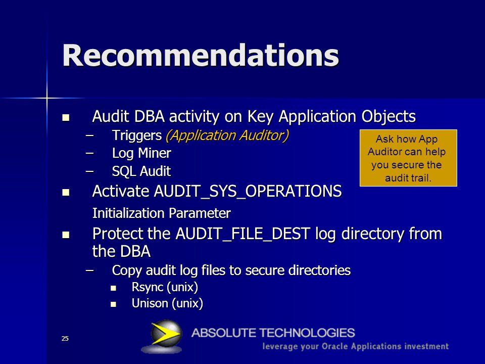 25 Recommendations Audit DBA activity on Key Application Objects Audit DBA activity on Key Application Objects –Triggers (Application Auditor) –Log Mi